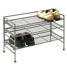 Storage Basics 3-Tier Low Iron Stackable Shoe Rack - BedBathandBeyond.com