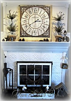 Decorative TIN FIREPLACE COVER with a nice vintage style from ...