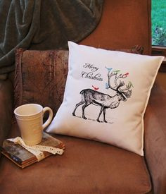 2013 Christmas Reindeer decorative throw pillow cover, christmas throw pillow cover
