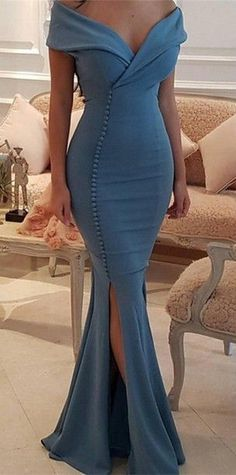 Elegant Off-the-Shoulder Slit Mermaid Buttons Evening Dress 2018 Long On Sale Quality Wedding Dresses, Prom Dresses, Evening Dresses, Bridesmaid Dresses, Homecoming Dress - Blue Party Dress, Sexy Party Dress, Prom Dresses Blue, Mermaid Prom Dresses, Formal Dresses, Dresses Dresses, Party Dresses, Evening Dresses For Weddings, Wedding Dresses