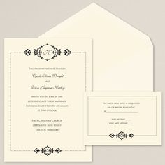 Exclusively Wedding's Lovely Elegance wedding invitation is a classic design. A dotted border and elegant flourishes surround your wedding invitation text.