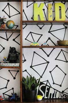 + DIY bookshelf wallpaper +