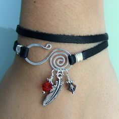 Black Deerskin Leather Wrap Bracelet - Silver Feather Charm, Heliotrope& Red Crystal Beads, Spiral Wire Closure - Genuine Soft Deerskin Lace www.sgtpepperscreations.etsy.com