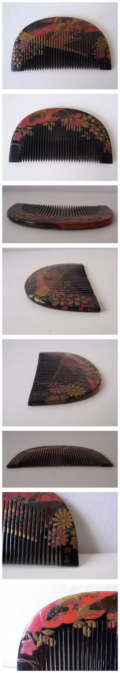 Antique comb signed; gold, silver, mother-of-pearl decoration on raised maki-e of pines with fan and flower design.