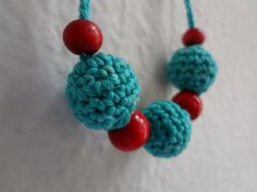 The Señorita Necklace no.5 - Crocheted Baby Necklace, little girls' jewelry - crocheted children's necklace, turquoise and red