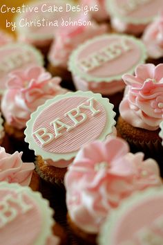 Beautifully designed~Baby Girl Cupcakes~Perfect for a shower~❥