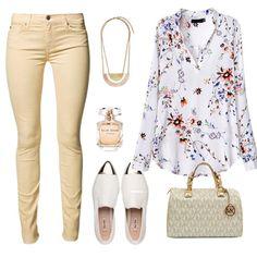 White V Neck Long Sleeve Floral Blouse