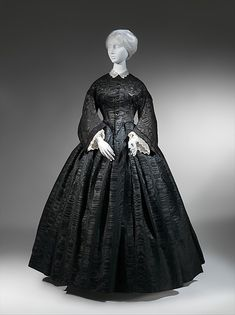 Mourning ensemble Date: 1857–60 Culture: American Medium: silk/wool, silk Dimensions: Length at CB: 61 in. (154.9 cm) Length at CF: 56 1/2 in. (143.5 cm) Width at Bottom: 176 in. (447 cm)