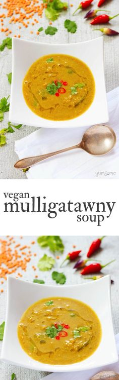 Spicy, warming, filling, delicious, and full of fibre and protein, my vegan mulligatawny soup is just the thing for chilly autumn evenings. | yumsome.com via @yums0me