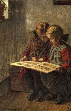 """Walther Firle  [German painter 1859-1929] """"The Picture Book"""" (detail) ~ 19th century  - #reading #books"""