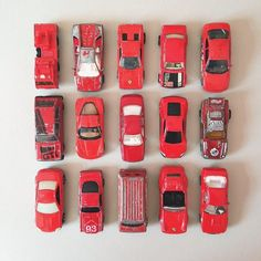 Collection of vintage red toy cars | scraps of us