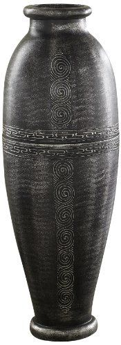 PoliVaz DV-ANT-LL-M-SILV Antique Silver Floor Vase, Urn by PoliVaz. $125.99. Design by world-renowned london artist neal adams. Greek key center design is skillfully hand-cut into the vase by balisan artists. Features intriguing texture, depth and natural shades of warm browns weaving across the whitewashed base. Hand-painted in a vintage antique silver using a dry brush technique, which results in the rustic, uneven appearance and pronounced highlights. Made from virtually...