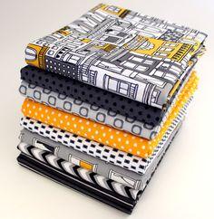 NEW Uptown 1/2 Yard Bundle - Citron Gray City Buildings / Robert Kaufman Fabrics on Etsy, $36.00
