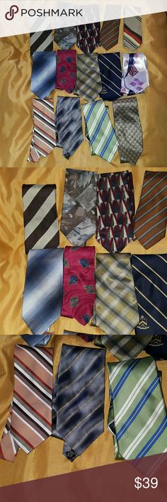 Men's Bundle Lot of 14 Ties Great bundle lot of different kind of ties. Some of them has tiny holes, snags, loose thread and stain spots on them. Some are easy fix. Still a great lot of ties to wear or to do a project with. Most all of them are silk. Sold as is!! Accessories Ties