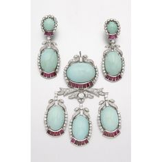 WHITE GOLD, TURQUOISE, DIAMOND RUBY PENDANT AND EARCLIPS Numerous diamonds approx 6.50 cts, Quantity: 3 length of earrings 2 1/8 ins.