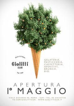 Giolitti EUR Poster. Visual communication. Natural and hystorical Ice Cream in the earth of Rome.