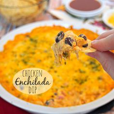 Chicken Enchilada Dip, BEST DIP EVER! My family goes crazy for this. [ MexicanConnexionforTile.com ] #food #Talavera #Mexican