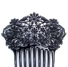 Elaborate French jet and celluloid Victorian mourning comb