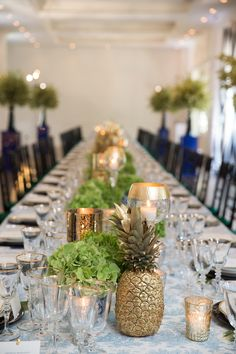 Ideas For Wedding Table Decorations Beach Pineapple Centerpiece Wedding Table Decorations, Wedding Centerpieces, Centerpiece Ideas, Trendy Wedding, Summer Wedding, Luau Wedding, Wedding Dress, Pineapple Centerpiece, Elegant Table