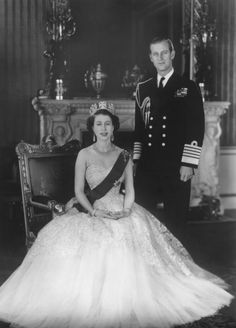 Photographic Print: HM Queen Elizabeth II and Hrh Duke of Edinburgh at Buckingham Palace, March 1953 by Sterling Henry Nahum Baron : Princess Of Wales, Princess Diana, Prince Philip, Prince William, Prince Andrew, Wedding Color Schemes, Wedding Colors, Windsor, Royals