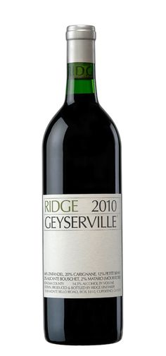 Ridge 2010 Geyserville- Thanks to the Shells, Ridge Zinfandel is my favorite. We had a 1970s vintage that was phenomenal!  The 2009 was not bad!
