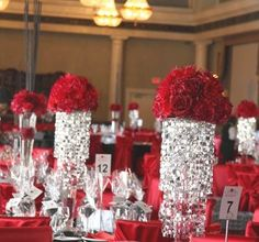 red reception wedding flowers,  wedding decor, red wedding flower centerpiece, red wedding flower arrangement, add pic source on comment and we will update it. www.myfloweraffair.com