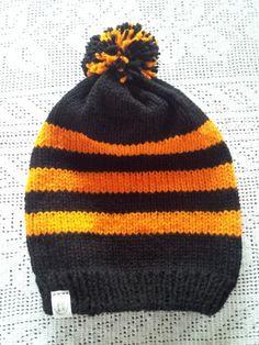Black and Orange Men's Hat with Three Stripes & by LaBufandaLLC, on sale