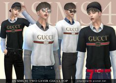 Two Layer Gucci Top for The Sims 4