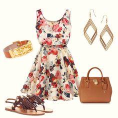 Apricot Sleeveless Round Neck Florals Print Dress
