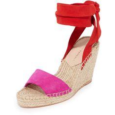 Loeffler Randall Harper Espadrille Wedges (7 745 UAH) ❤ liked on Polyvore featuring shoes, sandals, high heel platform sandals, wedge sandals, high heel wedge sandals, ankle wrap sandals and espadrille wedge sandals