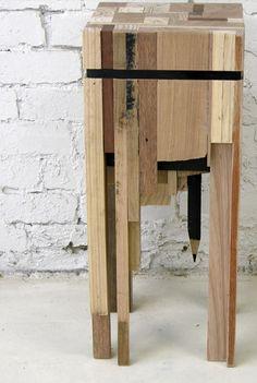 Reclaimed wood into bar stool