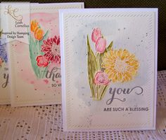 Inspired by Stamping, Leah Cornelius, Spring Bouquet stamp set, thinking of you cards, watercolor cards, card set