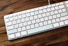 20 Ways to Decorate Your Tech with Removable Washi Tape-keyboard