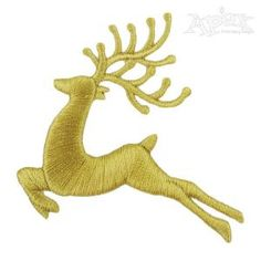 """Christmas Silhouette Reindeer Embroidery Design. Extra wide all satin stitch. Size: 2.72"""" x 2.57"""""""