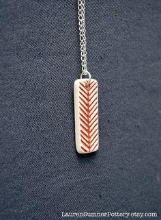 Red Chevron Arrow Porcelain Necklace by LaurenSumnerPottery
