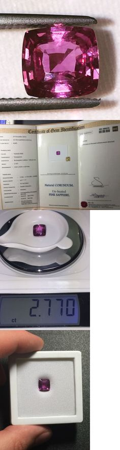 Natural Sapphires 4644: Natural 2.76 Carat Unheated Pink Sapphire Certified Loose Gemstone Gic Cushion BUY IT NOW ONLY: $2400.0