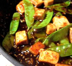 Orange Tofu - really good! I added red pepper flakes, and it was delicious. #mademorethanonce