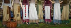 Skirts with apron, standalone base game recolor. 8 styles.DL Dropbox / SimFileShareMade with S4S(basket - around the sims 4, blouses by simdoughnut & Kiaraposes by dearkim & kiruluvnst)