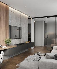 Modern Apartment Design, Small Apartment Decorating, Modern Bedroom Design, Modern Interior Design, Loft Interior, Interior Design Living Room, Living Room Designs, Interior Livingroom, Bedroom Tv Unit Design