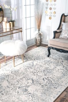 Rugs USA Ivory Bosphorus Floral Ornament Rug: If you love the transitional flair of an erased floral patterned rug which is durable and easy to pile Area Rug Sizes, Area Rugs, Room Rugs, Farmhouse Style Rugs, Rug Runners, Transitional Rugs, Buy Rugs, Rugs Usa, Contemporary Rugs