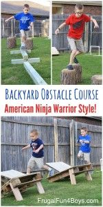 American Ninja Warrior Back Yard Obstacle Course for Kids! Build and re-build different ways, and then it packs up for storage. - Frugal Fun For Boys and Girls