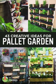Wooden Pallet Projects 43 Gorgeous DIY Pallet Garden Ideas to Upcycle Your Wooden Pallets - Need a cheap garden bed or planter that can be used either for vertical and horizontal gardening, but still looks good? Try these 43 pallet garden ideas. Wooden Pallet Projects, Wooden Pallets, Pallet Ideas, Wood Pallet Planters, Garden Ideas With Pallets, Pallet Garden Projects, Pallet Fence, Recycled Pallets, Fence Ideas