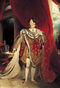 King George IV. Note the table upon which the crown is placed, the table originally belonged to Napoleon I. It was gifted to George by King Louis XVIII of France. It became one of his most prized possessions and thus George asked that the painter (Sir Thomas Lawrence) include it in this portrait.