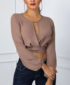 Shop Tanks & Crop Tops Cutout Front Knot Back Crop Blouse Crop Top Outfits, Curvy Outfits, Casual Outfits, Outfit Trends, Crop Blouse, Blouse Dress, Bodycon Dress, Womens Fashion Online, Blouse Styles