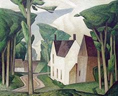 ۩۩ Painting the Town ۩۩ city, town, village & house art - A. Casson, Village House on paper silkscreen Group Of Seven Artists, Group Of Seven Paintings, Tom Thomson, Emily Carr, Canadian Painters, Canadian Artists, Jackson, Landscape Art, Landscape Paintings