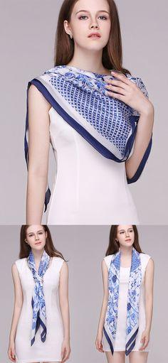 60e613e7c649f Classic retro blue and white silk scarf printing! Pure handmade