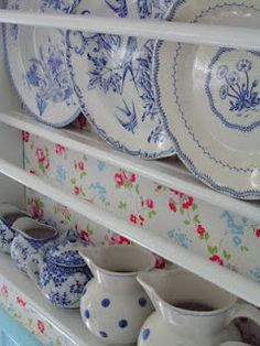 Blue plates and jugs
