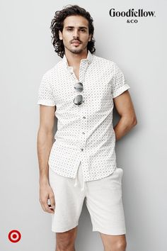 A lightweight patterned shirt + crisp white shorts   instant spring style.  Raymond Suit 07b020ea2ddf5