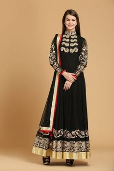 Buy Black Polyester Net Anarkali Churidar - Salwar Kameez for Women from Andaaz Fashion at Best Prices. Style ID: 1597 Robe Anarkali, Costumes Anarkali, Anarkali Churidar, Churidar Suits, Anarkali Suits, Saree, Eid Dresses, Indian Dresses, Indian Outfits
