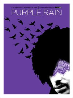 Purple Rain poster made for a 2009 screening at the Enzian Theatre in Florida, designed by Lure Design's Kelly Romano.